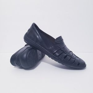 Bragano Black Woven Leather Loafers Size 9.5M